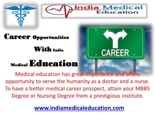 Career Opportunities With India Medical Education