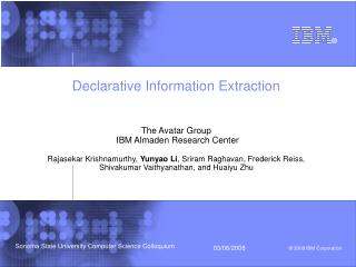 Declarative Information Extraction Th