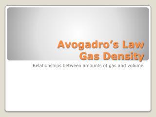Avogadro s Law Gas Density