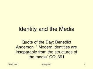 Identity and the Media