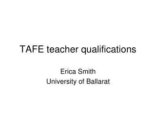 TAFE teacher qualifications