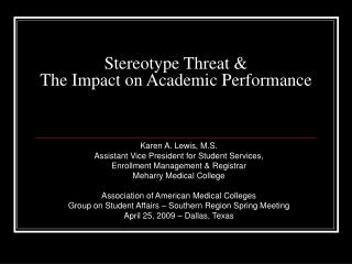 Stereotype Threat  The Impact on Academic Performance
