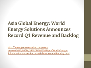 Asia Global Energy: World Energy Solutions Announces Record