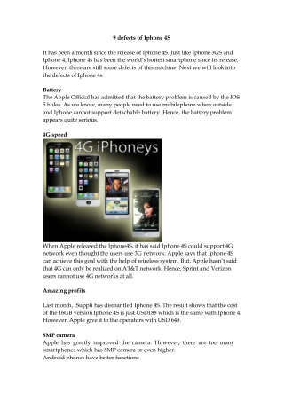9 defects of iphone 4 s