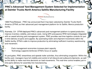 PINC's Advanced Yard Management System Selected for Implemen
