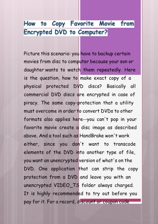 How to Copy Favorite Movie from Encrypted DVD to Computer?