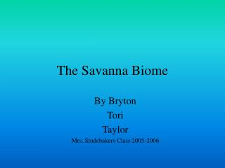 The Savanna Biome