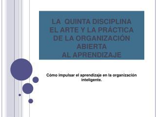 LA  QUINTA DISCIPLINA EL ARTE Y LA PR CTICA DE LA ORGANIZACI N ABIERTA AL APRENDIZAJE