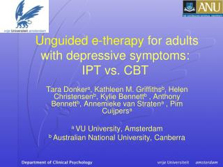 Unguided e-therapy for adults with depressive sy