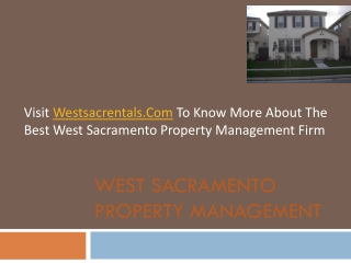 Visit Westsacrentals.Com To Know More About The Best West Sacramento Property Management Firm