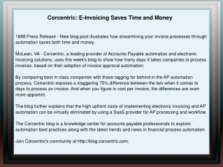 Corcentric: E-Invoicing Saves Time and Money