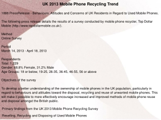 UK 2013 Mobile Phone Recycling Trend