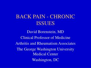 BACK PAIN - CHRONIC ISSUES