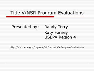 Title VNSR Program Evaluations