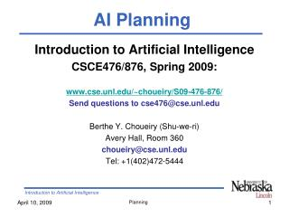 Introduction to Artificial Intelligence CSCE476