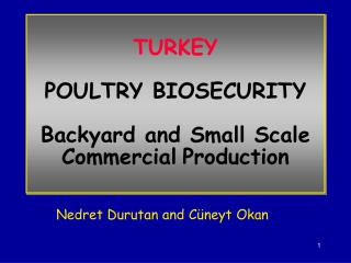 TURKEY  POULTRY BIOSECURITY  Backyard and Small Scale Commercial Production