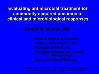 Evaluating antimicrobial treatment for community-acquired pneumonia: clinical and microbiological responses