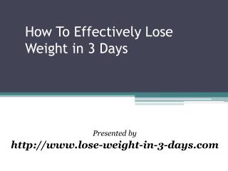 how to lose weight in 3 days successfully