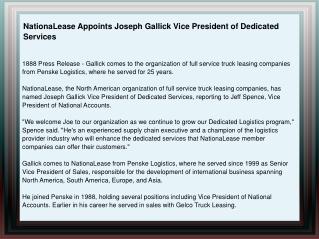 NationaLease Appoints Joseph Gallick Vice President of Dedic