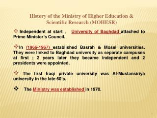 History of the Ministry of Higher Education  Scientific Research MOHESR