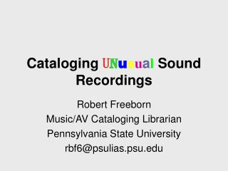 Cataloging U n