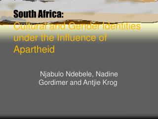 South Africa: Cultural and Gender