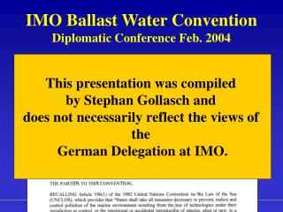 IMO Ballast Water Convention Diplomatic Conference Feb. 2004