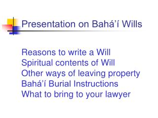 Presentation on Bah