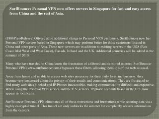 SurfBouncer Personal VPN now offers servers in Singapore for