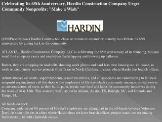 celebrating its 65th anniversary, hardin construction compan