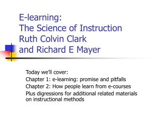E-learning: The Science of Instruction Ruth Colvin Clark ...