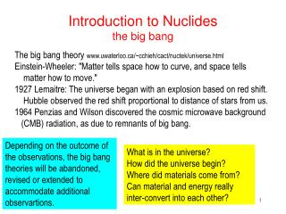 Introduction to Nuclides the big bang