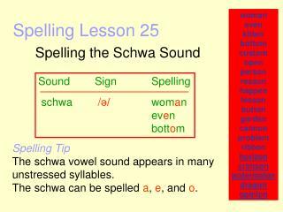 Spelling Lesson 25