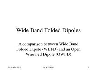 Wide Band Folded Dipoles
