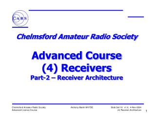Chelmsford Amateur Radio Society Advanced Course 4 ...