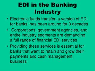 EDI in the Banking Industry
