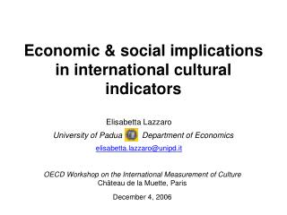 Economic  social implications in international cultural indicators