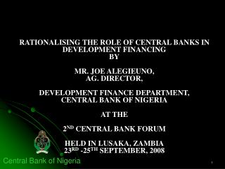 RATIONALISING THE ROLE OF CENTRAL BANKS IN DEVELOPMENT FINANCING ...