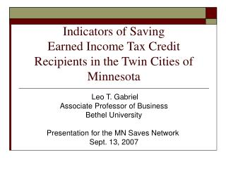 Indicators of Saving  Earned Income Tax Credit Recipients in the Twin Cities of Minnesota