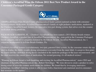 children's accudial wins the edison 2011 best new product aw