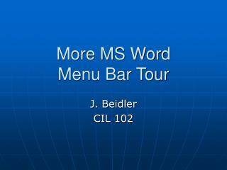 More MS Word Menu Bar Tour