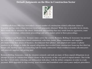 default judgments on the rise in construction sector