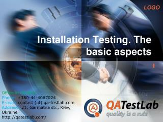 installation testing. the basic aspects