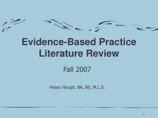 Evidence-Based Practice Literature Review