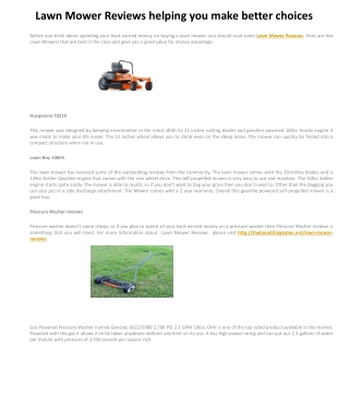 Lawn Mower Reviews helping you make better choices