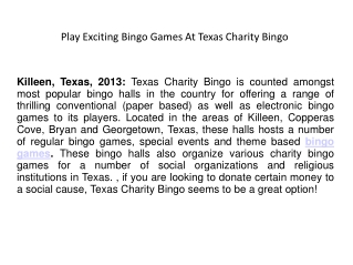 Play Exciting Bingo Games At Texas Charity Bingo