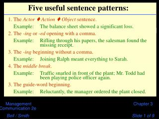 Five useful sentence patterns: