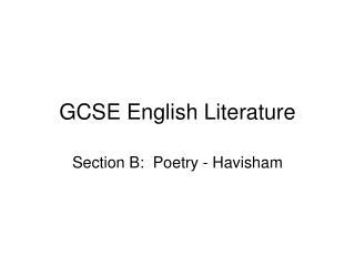 GCSE English Literature