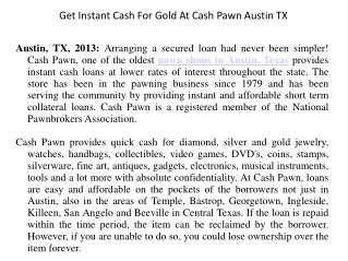 Get Instant Cash For Gold At Cash Pawn Austin TX