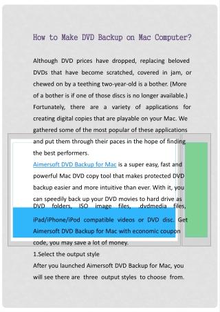 How to Make DVD Backup on Mac Computer